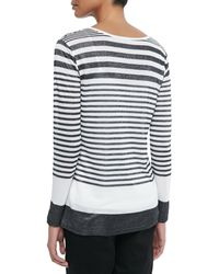 Vince Variegated-Stripe Long-Sleeve Tee black - Lyst