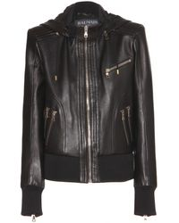 Balmain Black Leather Jacket - Lyst