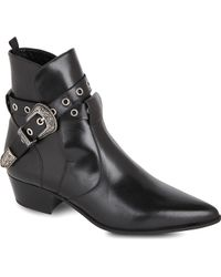 Saint Laurent Classic Janis Ankle Boots with Western Buckle in Black Leather - Lyst