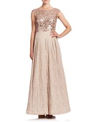 Kay Unger Sequined Jacquard Ball Gown gold - Lyst