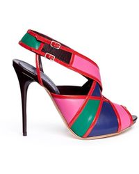 Alexander McQueen Colourblock Patent Trim Leather Slingback Sandals - Lyst