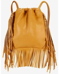 Sara Battaglia - David Fringe Leather Backpack: Mustard - Lyst