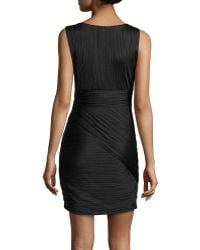 Halston Heritage Sleeveless Ruched Charmeuse Dress black - Lyst