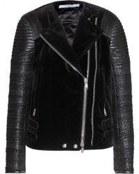 Givenchy Velvet, Leather And Tweed Biker Jacket - Lyst