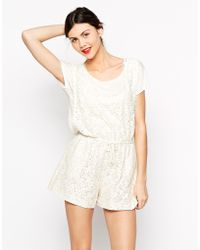 Love Moschino - Short Sleeve Lace Romper - Lyst