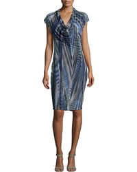 Halston Heritage Cowlneck Marquise Stripeprint Dress - Lyst