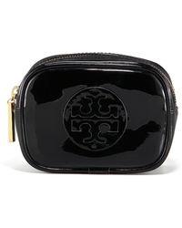Tory Burch Patent Cosmetic Case Small Blackblack - Lyst
