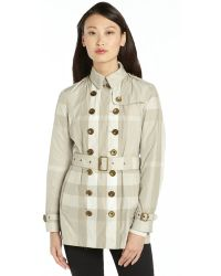 Burberry Brit Beige and Ivory Nylon Nova Check Belted Long Sleeve Trench Coat - Lyst