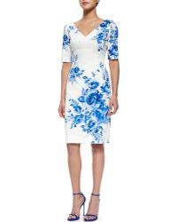Lela Rose Floral-Print Elbow-Sleeve Sheath Dress - Lyst