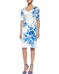 Lela Rose Floral-Print Elbow-Sleeve Sheath Dress - Lyst