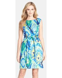 Ellen Tracy Printed Belted Sheath Dress - Lyst