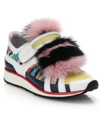 Pierre Hardy   Mixed Media Fur-front Sneakers   Lyst