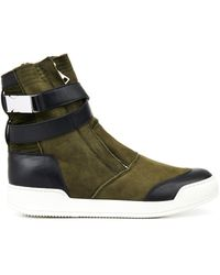 Balmain Suede Leather and Shearling Boots - Lyst