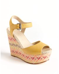 Vera Wang Lavender - Malina Leather Wedge Sandals - Lyst