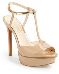 Jessica Simpson 'Carah' Platform Sandal beige - Lyst