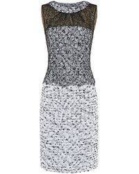 Oscar de la Renta Lace Overlay Tweed Sheath Dress - Lyst