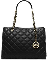 MICHAEL Michael Kors Susannah Large Quilted Tote Bag Black - Lyst
