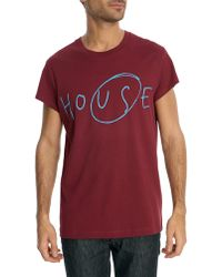 Acne Studios Fine Burgundy Cotton T-Shirt With House Slogan - Lyst