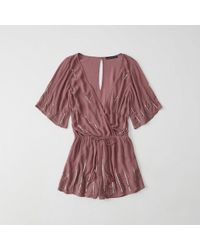 Abercrombie & Fitch - Short-sleeve Shine Romper - Lyst
