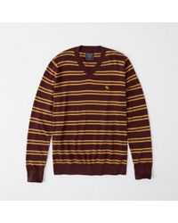 Abercrombie & Fitch - Icon Striped V-neck Sweater - Lyst