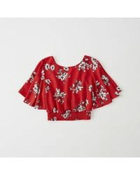 Abercrombie & Fitch - Smocked Flutter Sleeve Top - Lyst