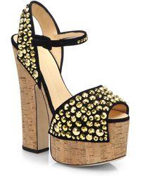 Giuseppe Zanotti Goldtone Studded Suede Cork Platform Sandals - Lyst