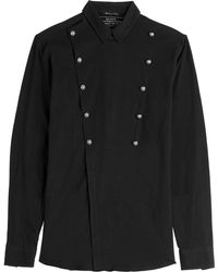 Balmain Cotton Shirt With Embossed Buttons - Lyst