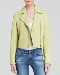 J Brand Leather Jacket - Aiah Lime Sherbert - Lyst