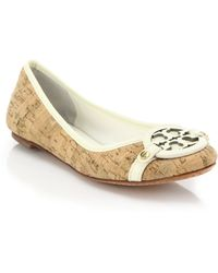 Tory Burch Aaden Leather-Trimmed Logo Cork Flats brown - Lyst