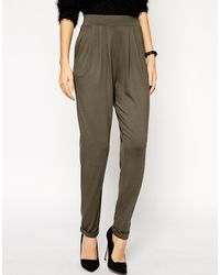Asos Basic Peg Trousers in Khaki - Lyst