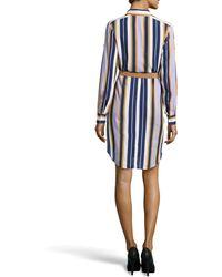 Halston Striped Longsleeve Belted Shirtdress - Lyst