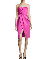 Camilla & Marc | Strapless Pleated Sweetheart Cocktail Dress | Lyst