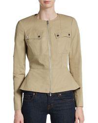 Michael Kors Cotton/Linen Peplum Jacket - Lyst