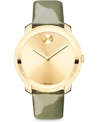Movado Bold Goldtone Ip Stainless Steel & Patent Leather Strap Watch - Lyst