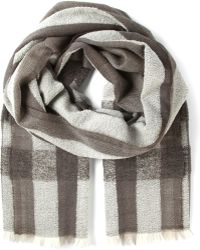 Diesel Gray Checked Scarf - Lyst