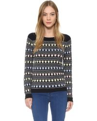 Chinti & Parker | Heart Fair Isle Cashmere Sweater - Navy | Lyst