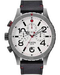 Nixon 48-20 Chrono Leather Gunmetal And White Watch - Lyst