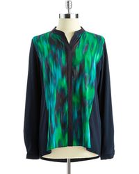 T Tahari Christy Button-Down Blouse - Lyst