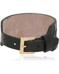 Alexander McQueen Rib Cage Embossed Leather Bracelet - Lyst