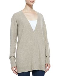 Eileen Fisher Vneck Zipfront Cashmere Cardigan - Lyst