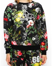 Vivienne Westwood | Anglomania Baggy Oversized Sweatshirt With Orb Logo & Floral Print | Lyst