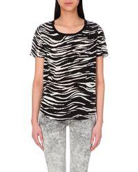 The Kooples Sport - Zebra-Print Silk Top - For Women - Lyst