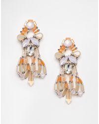 Nali - Statement Beaded Drop Earrings - Gold / Pink - Lyst