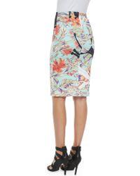 Clover Canyon Floral Spilled Milk & Tar Pencil Skirt - Lyst
