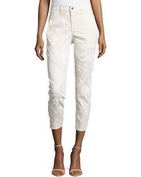 Helmut Lang Printed Slouchy Cropped Pants - Lyst