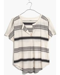 Madewell Luster Cotton Split-Neck Tee In Stripe - Lyst