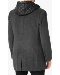 7 For All Mankind - Wool Coat With Zip Out Lining In Charcoal - Lyst