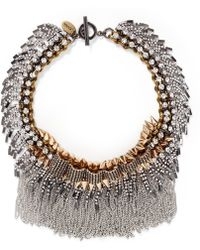 Venna Crystal Pavé Plate Fringe Collar Necklace - Lyst