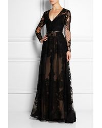Elie Saab Tulle and Lace Gown - Lyst