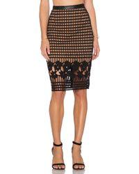 Greylin - Oscar Grid Lace Pencil Skirt - Lyst